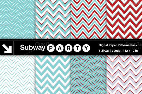 Aqua Blue Red Chevron Patterns