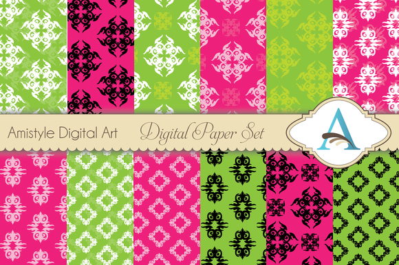 Christmas Damask Papers