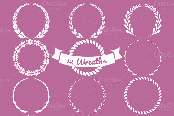 12 Vector Wreaths Vol 1