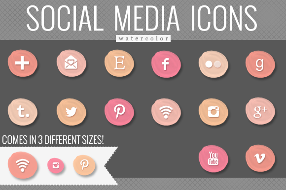 Peach Watercolor Social Media Icons