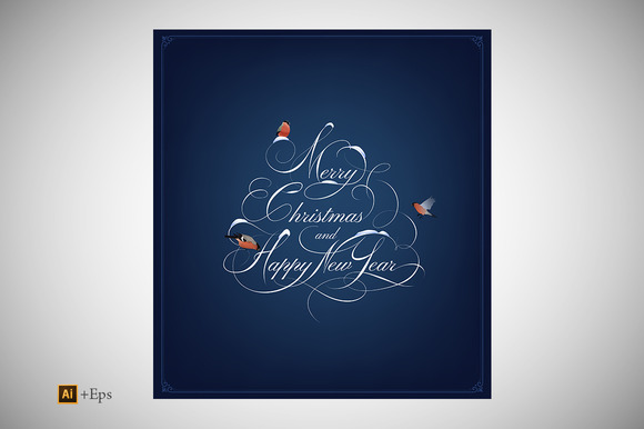 Christmas New Year Card Lettering
