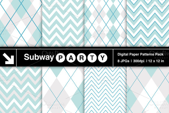 Aqua Blue Chevron Argyle Patterns