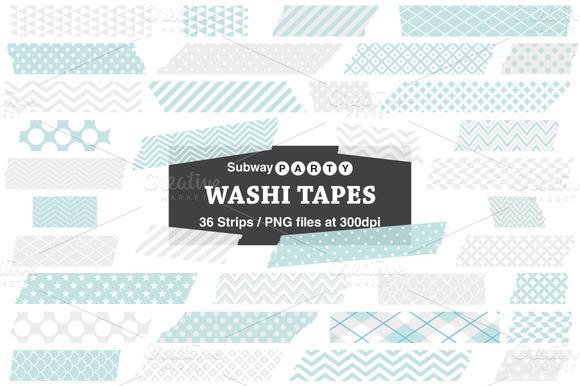 Aqua Blue Gray Washi Tape Strips