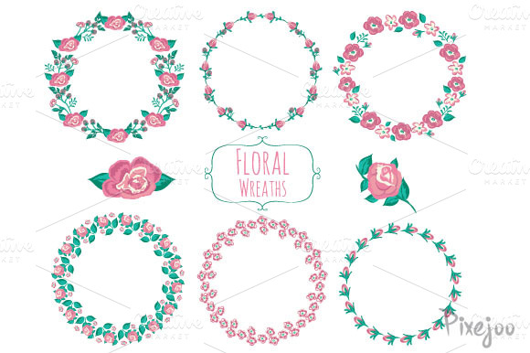 6 Wreath Flower Cliparts