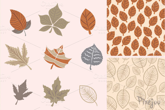 Leave Clipart With Seamless Patterns
