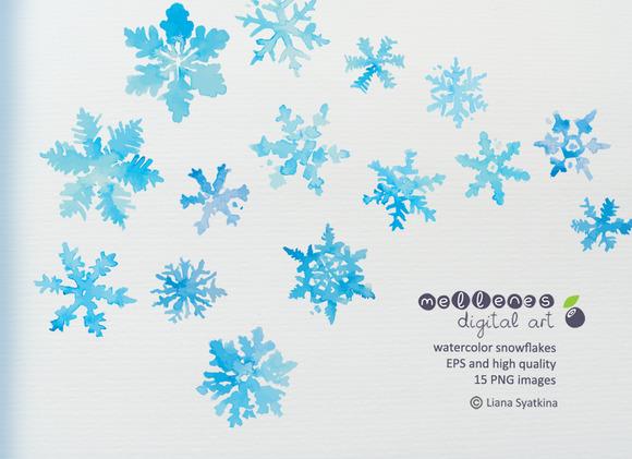 Watercolor Vector Snowflakes