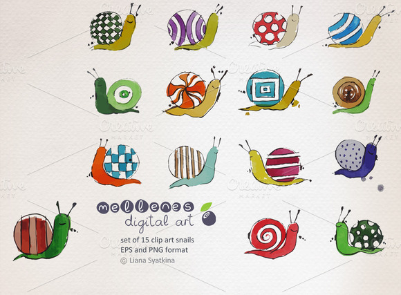 Watercolor Vector Snail Clipart