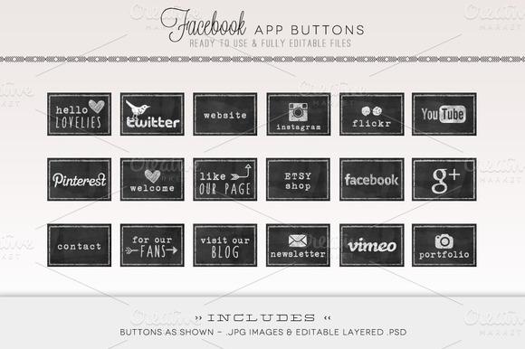 Chalkboard Facebook Tabs Web Icons