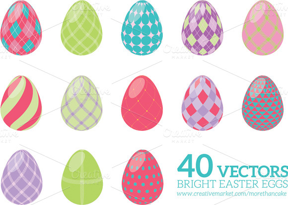 40 Fun Vector Easter Eggs Vol 1