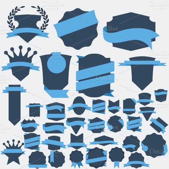 30 Flat Badges Labels And Banners