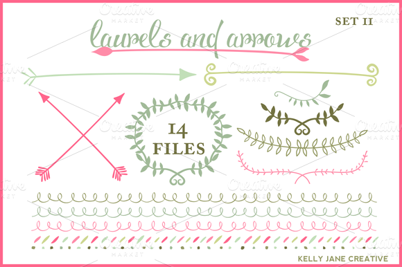Wreaths Arrows Laurels Vector
