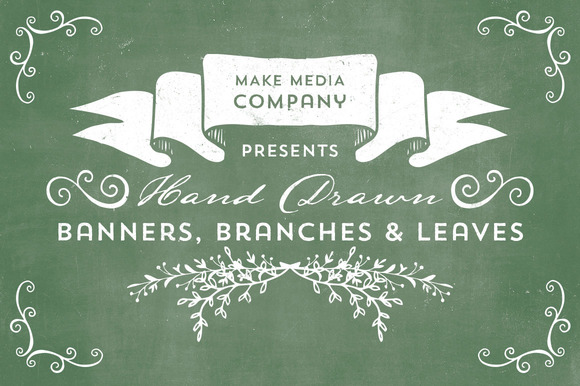 Hand Drawn Banners Branches Leaves