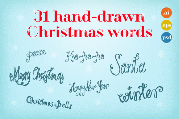 31 Hand-drawn Christmas Words