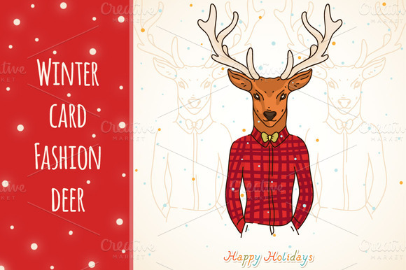 Winter Card Fashion Deer