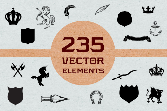 235 Heraldic Vector Illustrations