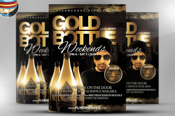 Gold Bottle Flyer Template 2