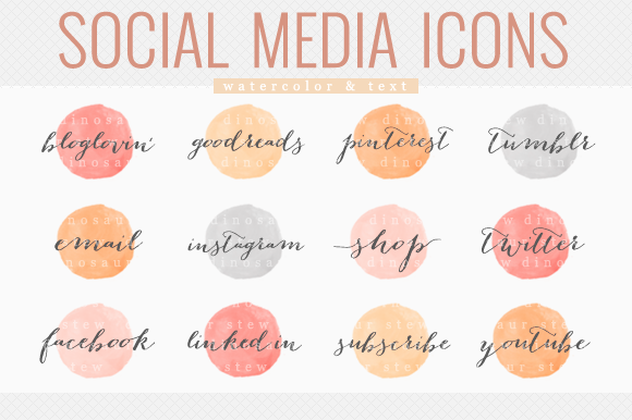 Social Media Icons Watercolor Text