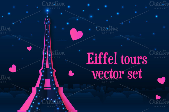 6 Vector Paper Eiffel Towers