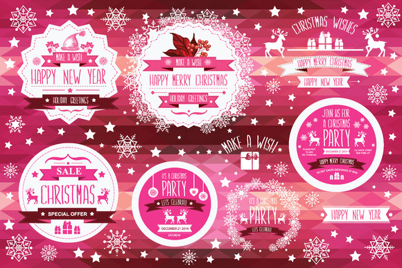 Set Of Creative Christmas Badges
