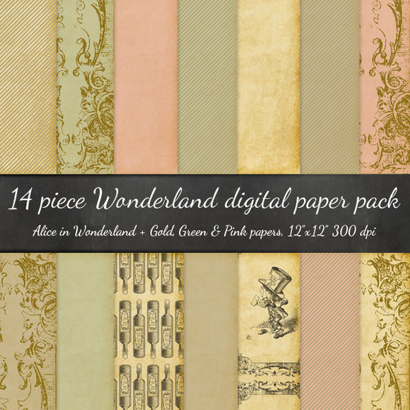 14 Piece Alice In Wonderland Papers