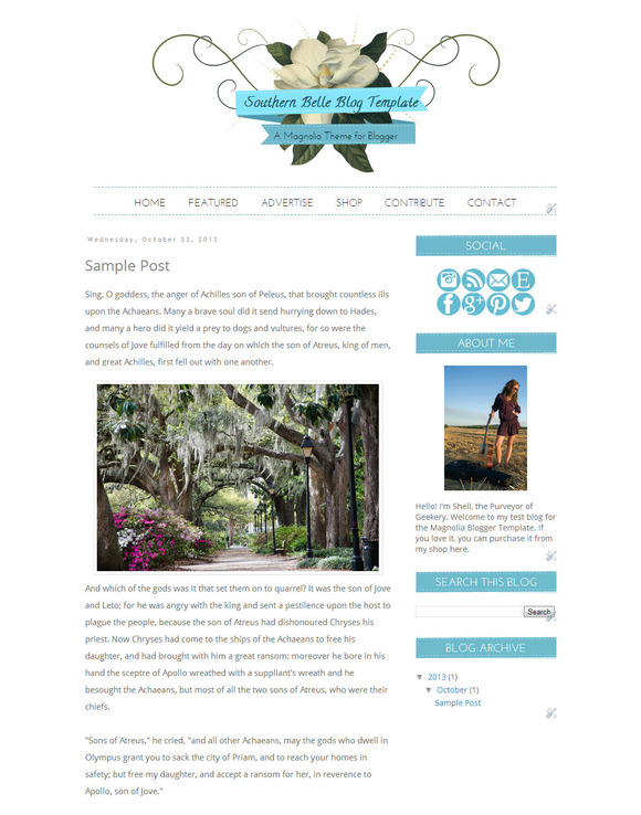 Southern Belle Blogger Template