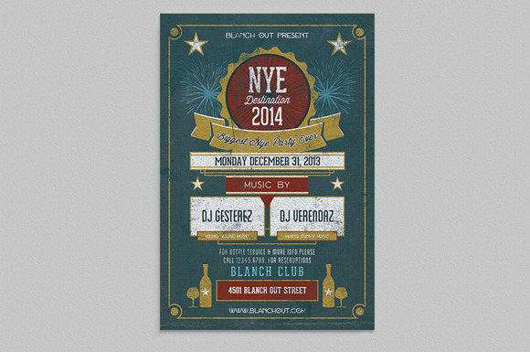 Vintage NYE 2014 Flyer Templates