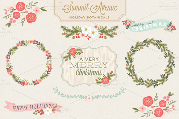 Holiday Botanical PNG Designs