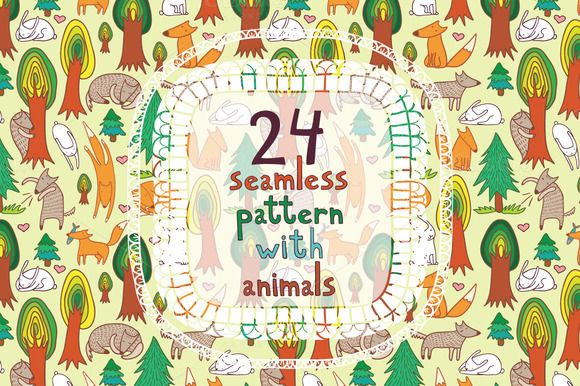 24 Seamless Pattern With Animals