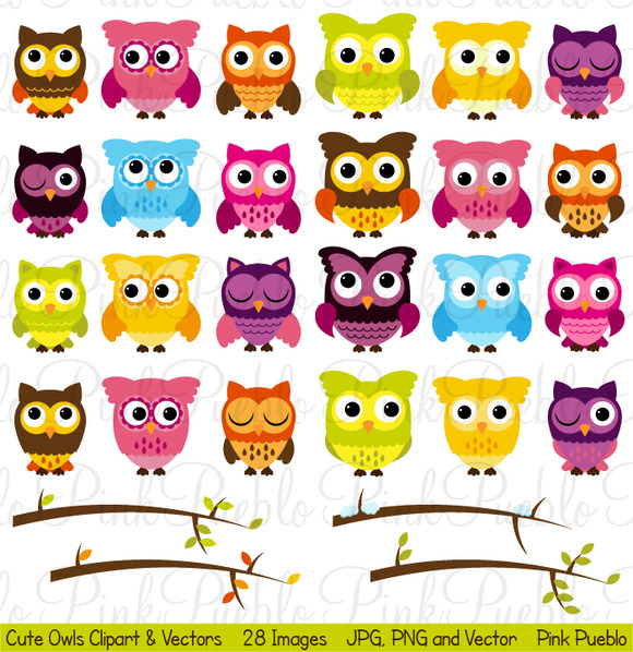 Owls And Branches Clipart Vectors