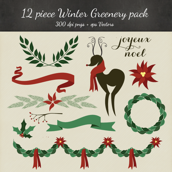 Christmas Clipart Vector PNG 12 Pack
