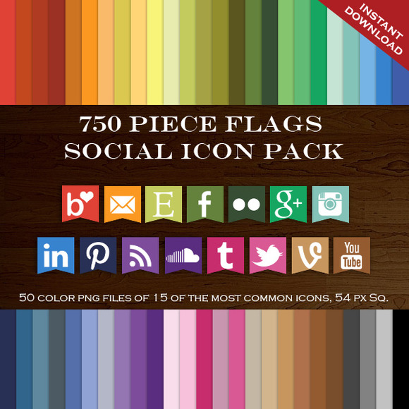 750 Social Media Flag Icon Package