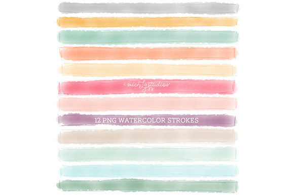 12 PNG Watercolor W Pencil Strokes