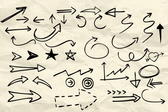 90 Hand Drawn Arrow Symbol Brushes