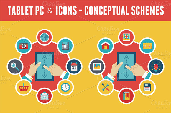 Tablet PC Icons Vector Concept
