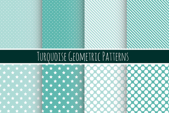 Set Of Seamless Turquoise Patterns