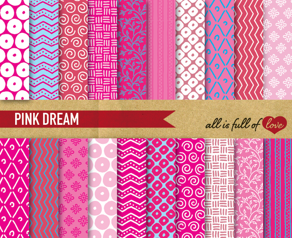 Pink Digital Illustration Patterns