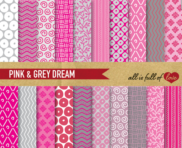 Pink Grey Digital Patterns