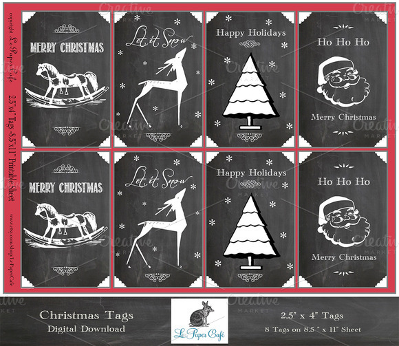 Digital Chalkboard Christmas Tags