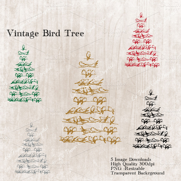 Vintage Bird Tree Elements