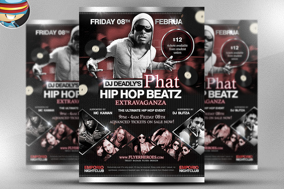 Phat Beatz Hip Hop Flyer Template