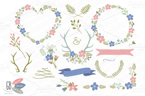 Folk Flower Wreaths Heart Blue