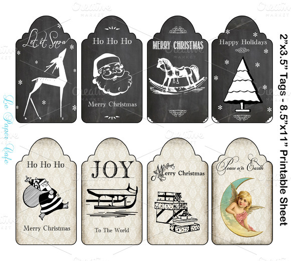 Chalkboard Damask Christmas Tags