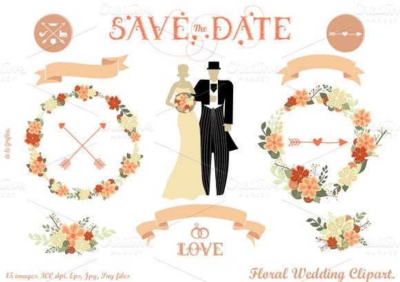 Floral Wedding Clipart Pink Version