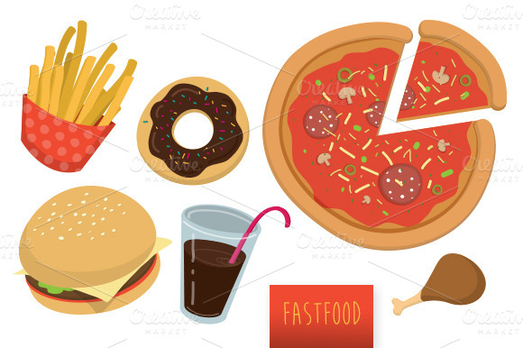 Assorted Fast Food Vector Set