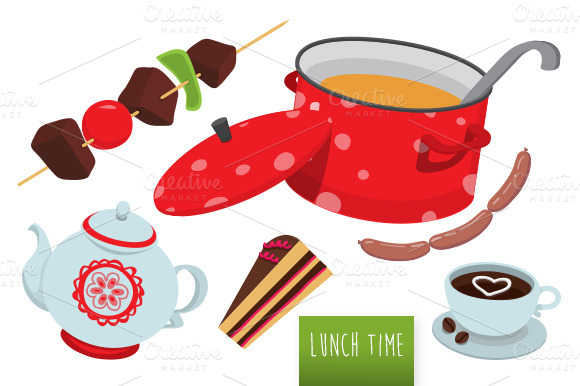 Yummy Vector Lunch Time Set