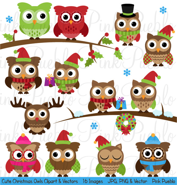 Cute Christmas Owl Clipart Vectors