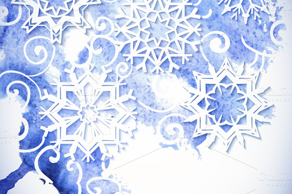 Watercolor Snowflakes Background
