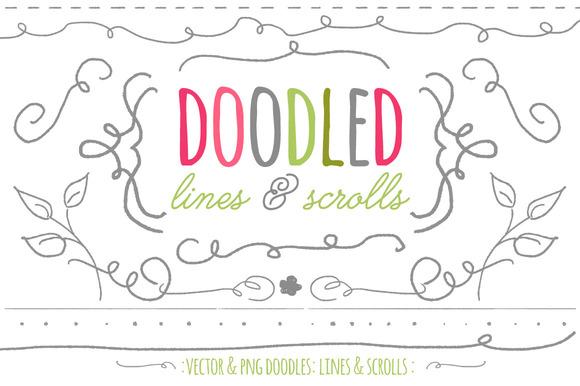 Doodled Lines Scrolls Vector Png