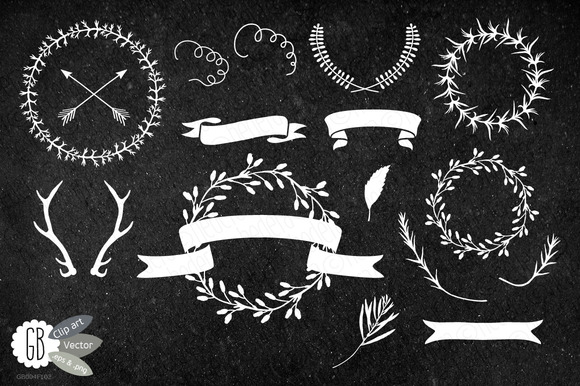 Chalkboard Wreaths Laurels Ribbons