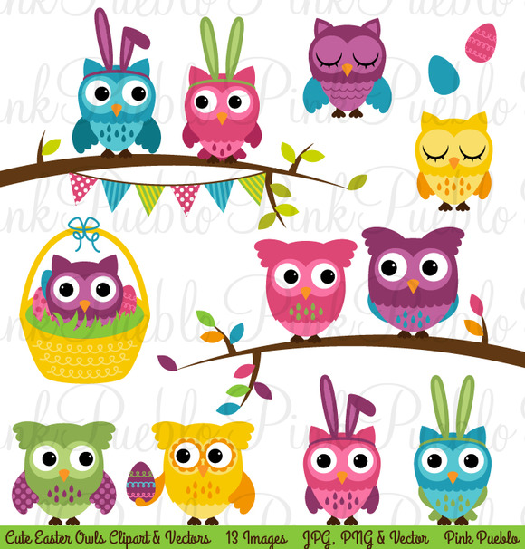 Spring Easter Owl Clipart Vectors